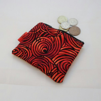 Red and Black Swirls Fabric Coin Purse - Free P&P