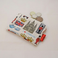 Colourful London Icons Fabric Coin Purse - Free P&P