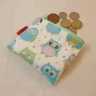 Pastel Blue Owl Fabric Coin Purse - Free P&P