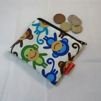 Funky Monkey Fabric Coin Purse - Free P&P
