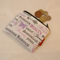 Fairytale Words Fabric Coin Purse - Free P&P