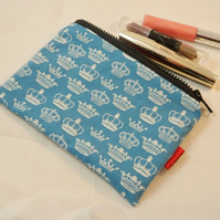 Blue Crowns Fabric Make Up Bag or Pencil Case - Free P&P
