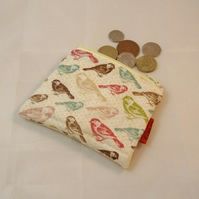 Sparrows Fabric Coin Purse - Free P&P
