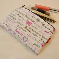 Fairytale Words Fabric Make Up Bag or Pencil Case - Free P&P
