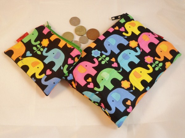 Funky Elephants Fabric Make Up Bag or Pencil Case and Coin Purse - Free P&P