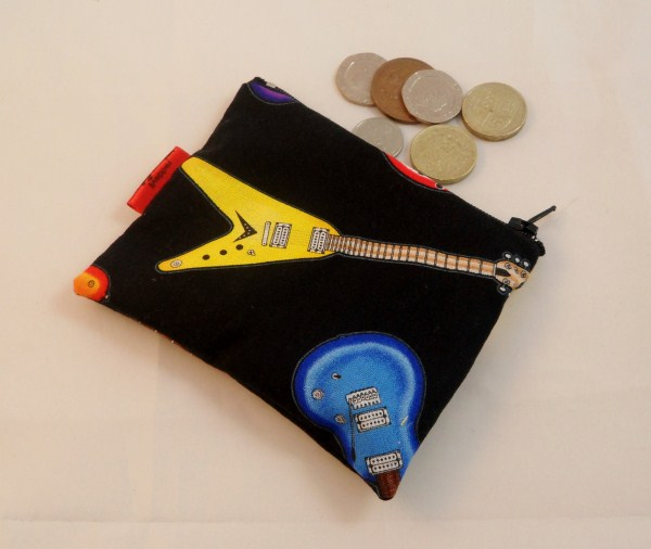 Electric Guitar Fabric Coin Purse - Free P&P