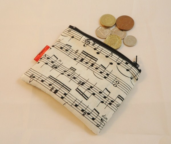 Musical Notes Fabric Coin Purse - Free P&P