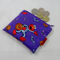 Purple Elmo Halloween Fabric Coin Purse - Free P&P