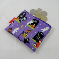 Purple Halloween Fabric Coin Purse - Free P&P