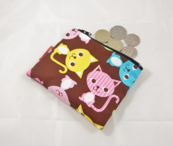 Multicolour Cats Fabric Coin Purse - Free P&P