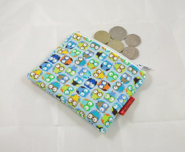 Blue Tiny Owls Fabric Coin Purse - Free P&P
