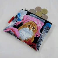 Cute Cats in Hats Fabric Coin Purse - Free P&P