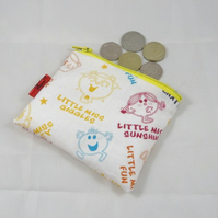 Little Miss and Mr Men Fabric Coin Purse - Free P&P