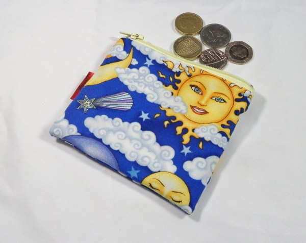 Sun and Moon Fabric Coin Purse - Free P&P