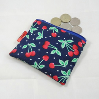 Navy Blue Cherries Fabric Coin Purse - Free P&P