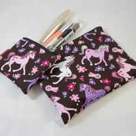 Lovely Pony Fabric Make Up Bag or Pencil Case and Coin Purse - Free P&P