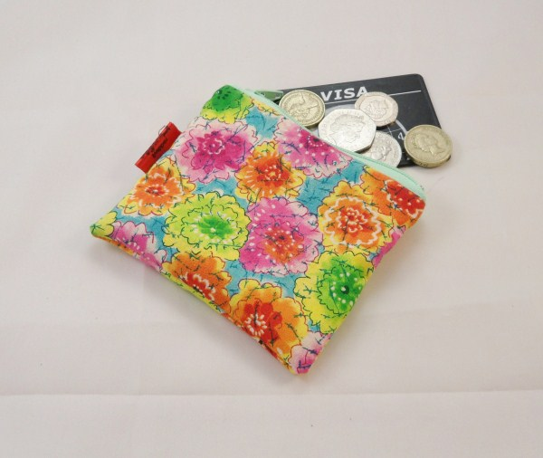 Bright Floral Fabric Coin Purse - Free P&P