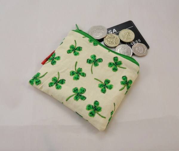 Four Leaf Clover Fabric Coin Purse - Free P&P
