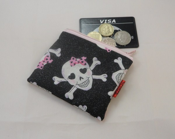 Glitter Skulls with Bows Fabric Coin Purse - Free P&P