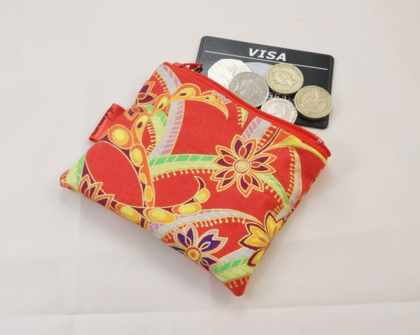 Red and Orange Swirly Pattern Fabric Coin Purse - Free P&P