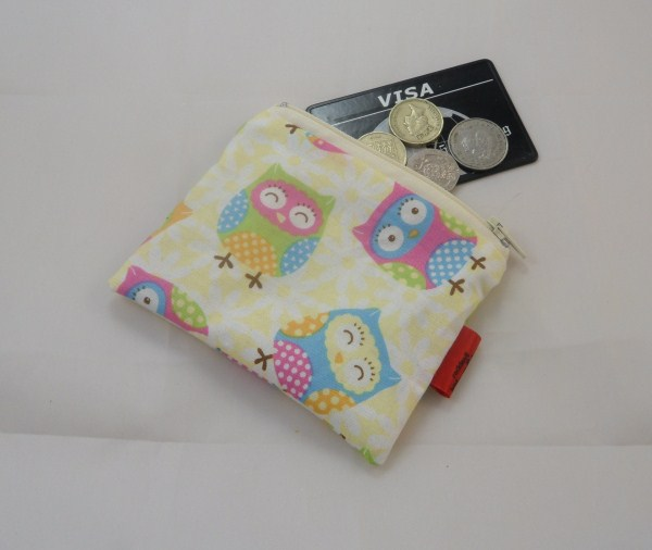 Large Owls Fabric Coin Purse - Free P&P