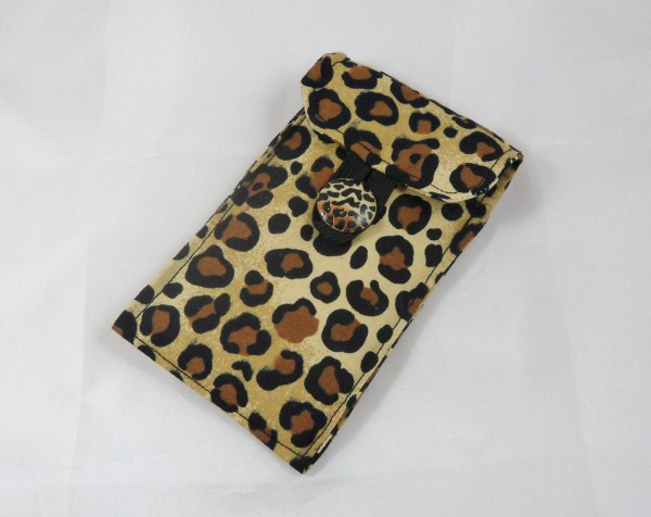 Leopard Print Fabric Padded Phone Cover - Free UK P&P