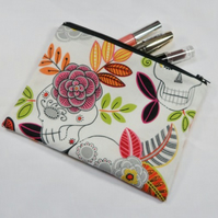 Large Skulls and Flowers Fabric Make Up Bag or Pencil Case - Free P&P