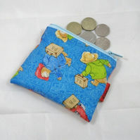 Blue Bear Fabric Coin Purse - Free P&P