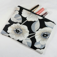 Large White Flower Fabric Make Up Bag or Pencil Case - Free P&P