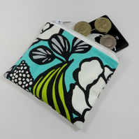Large White Flowers on Aqua Fabric Coin Purse - Free P&P