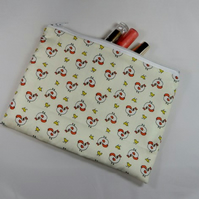 Tiny Chickens Fabric Make Up Bag or Pencil Case - Free P&P
