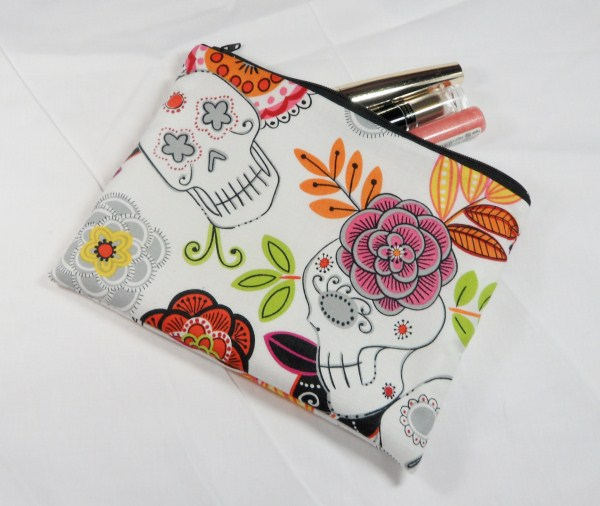 Skulls and Flowers Fabric Make Up Bag or Pencil Case - Free P&P