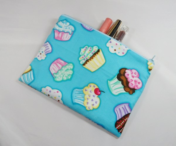 Yummy Cupcakes Fabric Make Up Bag or Pencil Case - Free P&P