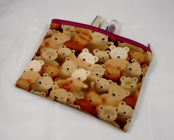 Teddy Bear Faces Fabric Make Up Bag or Pencil Case - Free P&P