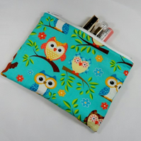 Colourful Owls  Fabric Make Up Bag or Pencil Case - Free P&P