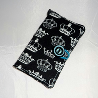 Crowns on Black Fabric Business Card Holder - Free UK P&P