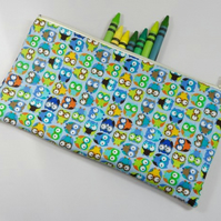 Mini Owls on Blue Fabric Pencil Case - Free UK p&p