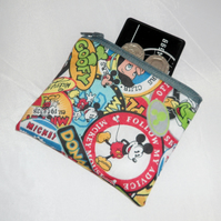 Cartoon Character Badge Fabric Coin Purse - Free P&P