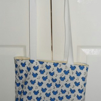 Blue Birds Fabric Tote Bag - Free UK P&P