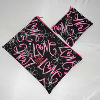 'Love' Fabric Make Up Bag or Pencil Case and Coin Purse - Free P&P