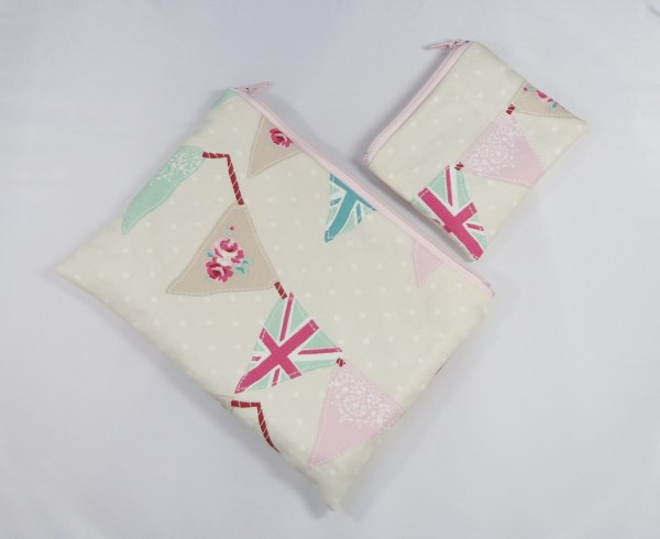 Bunting Flags Fabric Make Up Bag or Pencil Case and Coin Purse - Free P&P