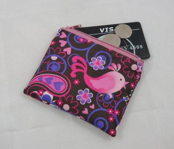 Large Bright Floral Pattern Fabric Coin Purse - Free P&P