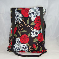 Skulls and Red Roses Fabric Tote Bag - Free UK P&P