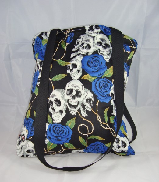 Skulls and Blue Roses Fabric Tote Bag - Free UK P&P