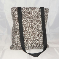 Snow Leopard Print Fabric Tote Bag - Free UK P&P