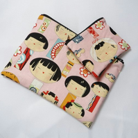 Japanese Doll Fabric Make Up Bag or Pencil Case and Coin Purse - Free P&P