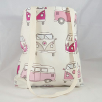 Pink Campervan Fabric Tote Bag - Free UK P&P