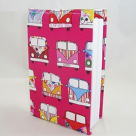 Campervans on Pink Fabric Covered A6 2016 Hardback Diary - Free UK P&P