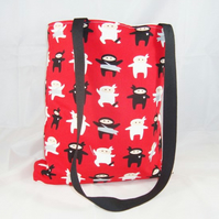 Ninjas on Red Fabric Tote Bag - Free UK P&P