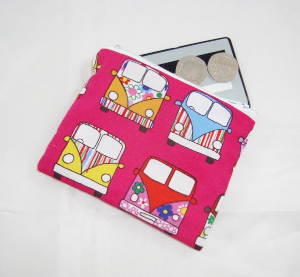 Pink Campervan Fabric Coin Purse -  Free P&P